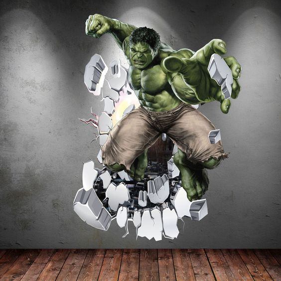 Hulk 3d avengers multi colour wall art sticker boys bedroom superhero