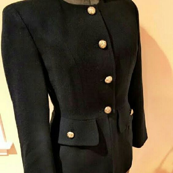 """Vintage Black Blazer /Jacket Vintage Bicci Blazer w/ large gold buttons measures chest 37"""" waist 32"""" length 21.5"""" 100% wool. Dry clean only, brass gold buttons & faux front pockets. Buttons go to waist w/ a snap closure. Fitted & lined w/ shoulder pads bicci Jackets & Coats Blazers"""