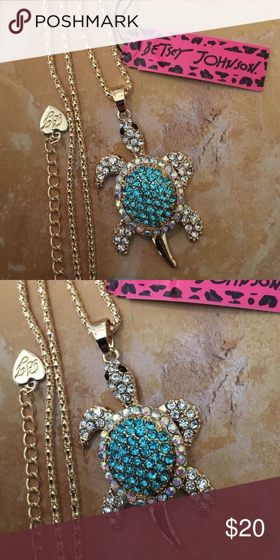 💕BJ Novelty Rhinestone Movable Turtle Necklace Brand new with tags! Stunning gold tone necklace accented with rhinestones! This is the cutest small size movable turtle!! Betsey Johnson Jewelry Necklaces