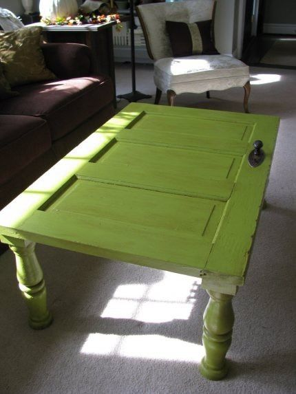 old doors plus turned legs = coffee table