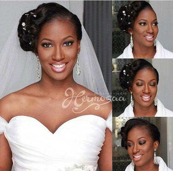 Lovely bride #bridalmakeup #blackbridemakeup #africanbride #africa #wedding #weddingmakeup #weddinghairstyle