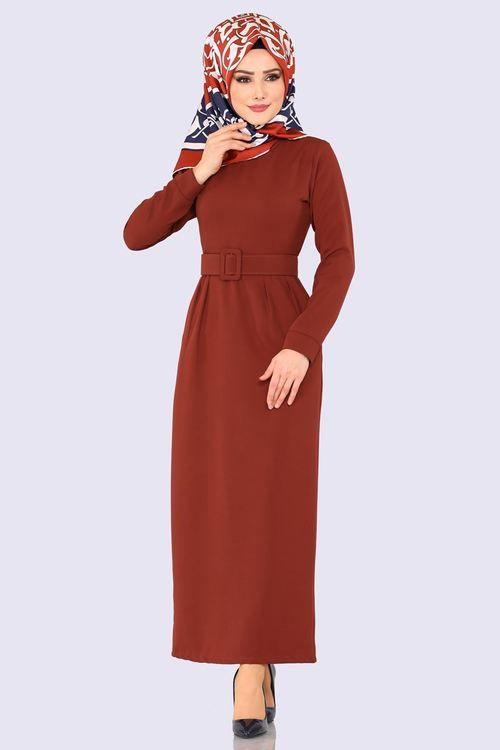 Modaselvim Elbise Pile Detay Kemerli Elbise Ukb5035 Kiremit The Dress Elbise Uzun Elbise