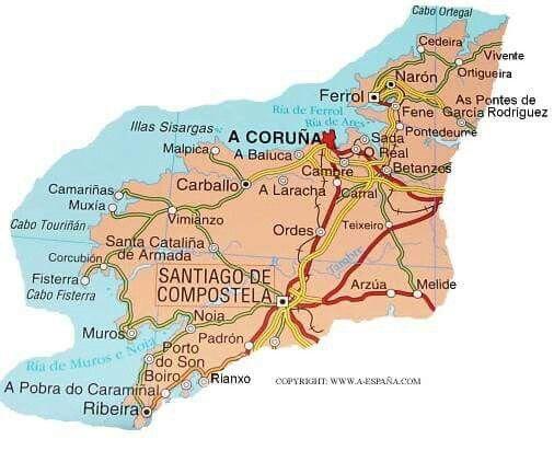 Mapa De La Provincia De A Coruna A Coruna Mapas Santiago De