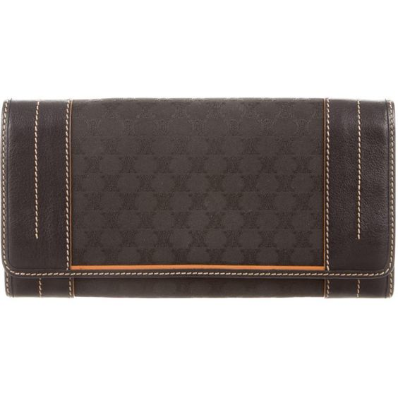 Pre-owned C?line Logo Flap Wallet ($220) ❤ liked on Polyvore featuring bags, wallets, black, zipper bag, zipper wallet, snap wallet, celine bag and celine wallet