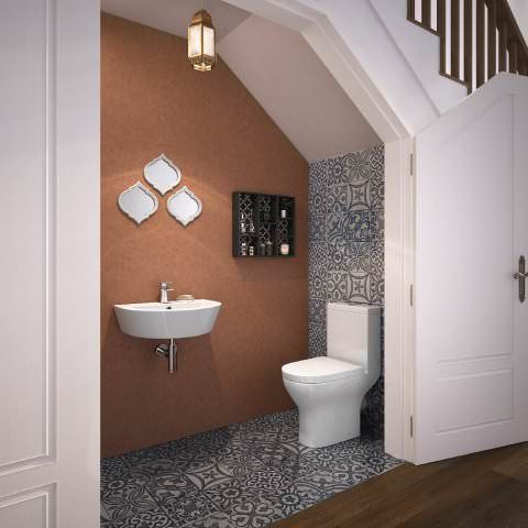 Bali Short Projection Close Coupled Toilet Wall Hung Basin Set | Under Stair Toilet Design | Toilet Separate | Underground Washroom | Wet Room | Stepped Floor | Small