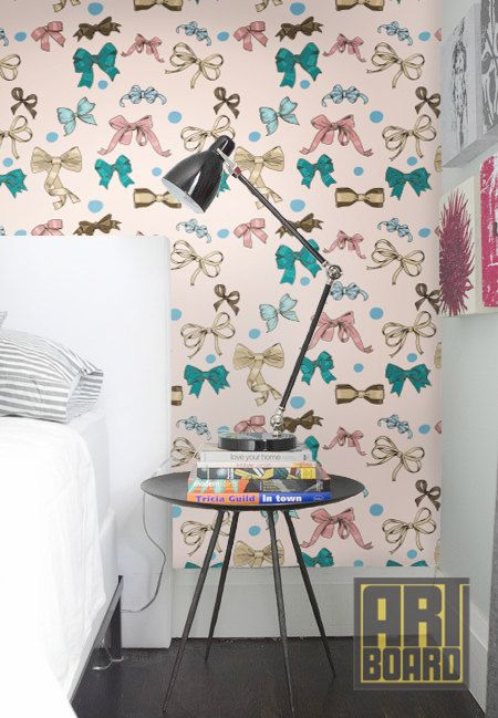Retro Bows Pattern  self adhesive DIY wallpaper home by ArtBoardI, $75.00