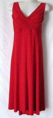Evan Picone 16 XL Red Slinky Stretch Crossover V Neck Sleeveless Cocktail Dress