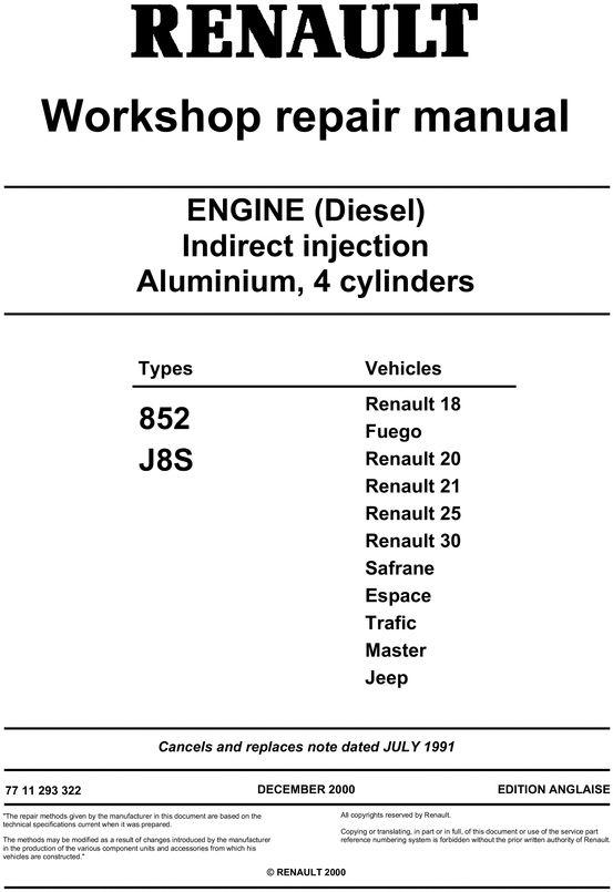 renault diesel engine 852 j8s workshop service  u0026 repair