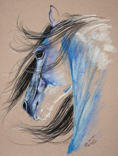 how to draw a horse with oil pastels