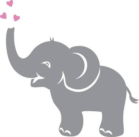 Funny Baby Elephant With Hearts Elephant Clip Art Elephant Silhouette Cute Elephant Pictures
