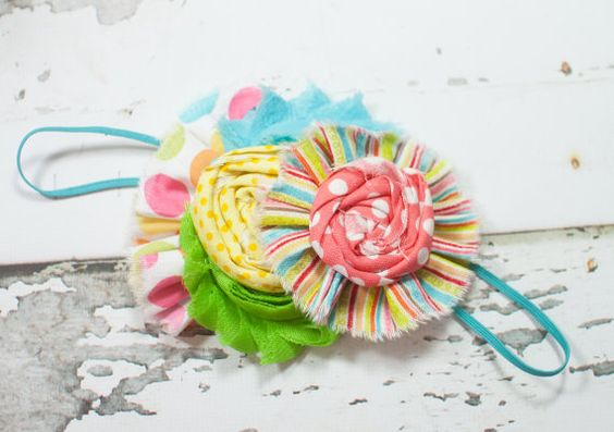 The Candy Man Can - headband in fun and bright colors and patterns - aqua, green, yellow, orange, pink coral by SoTweetDesigns