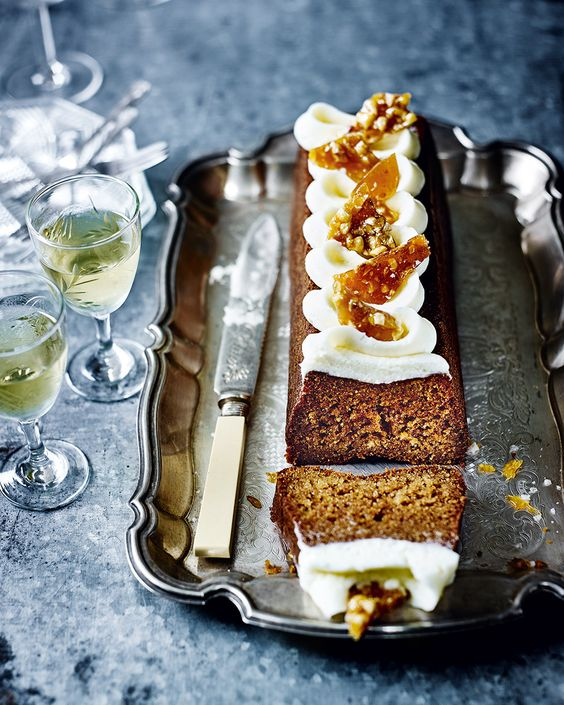 Forget salted caramel - salted honey is what makes a cake! The hazelnut brittle tops off this afternoon tea appropriate recipe.