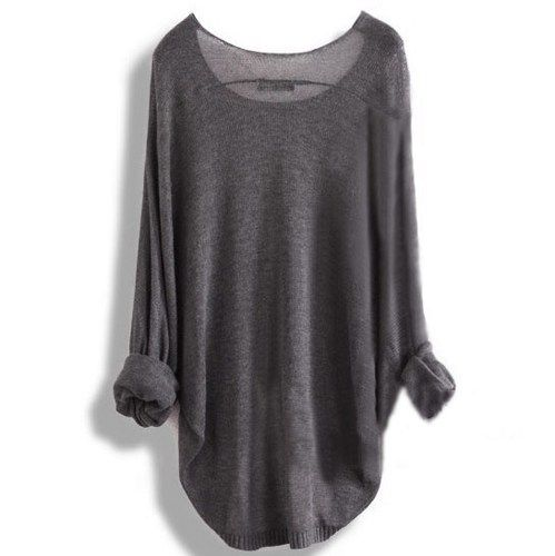 Gray Loose Batwing Sleeve Irregular Sweater