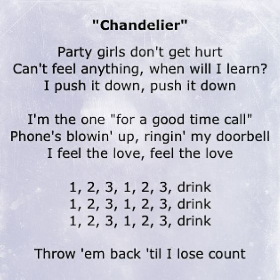 Sia - Chandelier lyrics: 1,2,3, 1,2,3  Drink