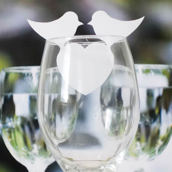 """Love Birds & Heart """"White Pearl"""" name place card - wine glass wedding Party [ Free Shipping without tracking number ]"""