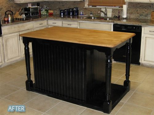 A table and a dresser made into a kitchen island.  Unbelievable!