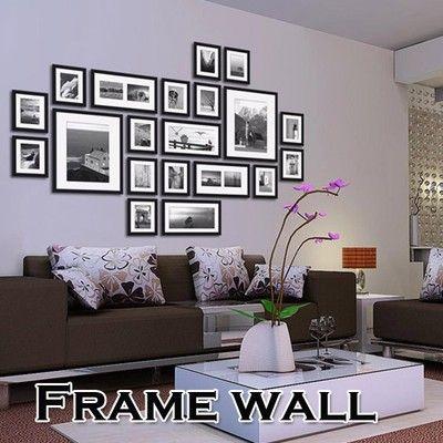 20pcs Black Picture Photo Frames Wall Set Home Office Wall Creative Decor Set   eBay