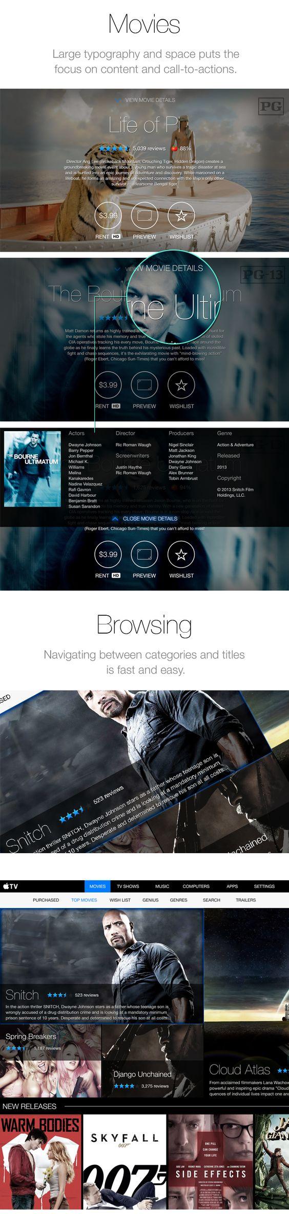 Apple TV Redesign (Concept) - UI/UX by Neil Krishnan, via Behance