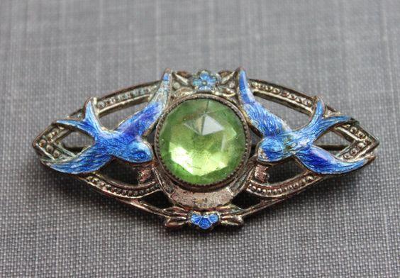 Edwardian Enamel Double Swallow Wedding Brooch by TheHiddenChamber, $155.00