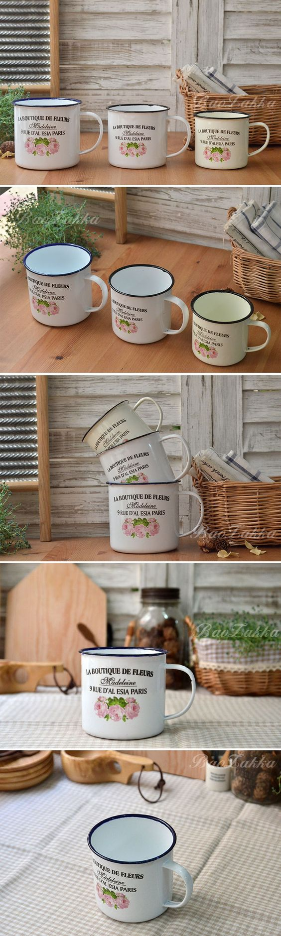 BAO ZAKKA 杂货 出口搪瓷 法文巴黎街区与玫瑰 咖啡杯 马克杯-淘宝网