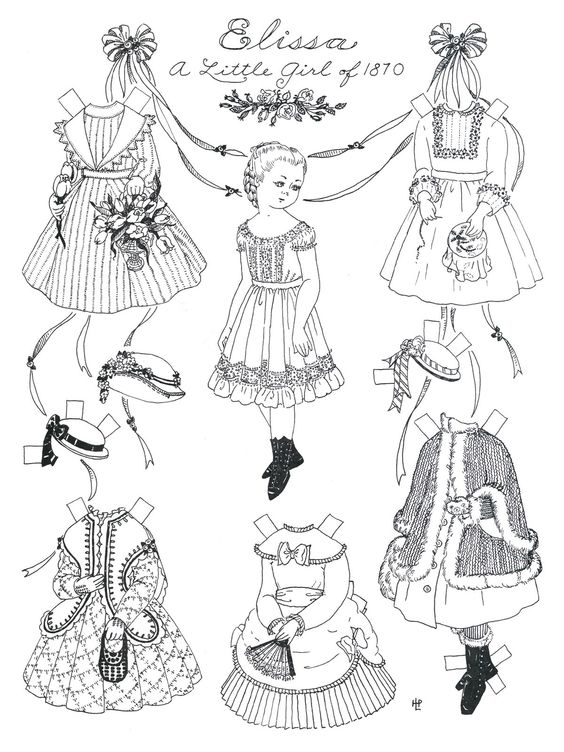 paper dolls to cut out and color | Print these black & white versions, get out your watercolors, and try ...: