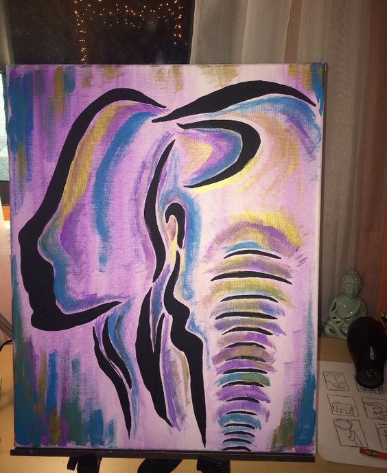 5 Clever Painting Ideas: Abstract Elephant Acrylic Painting