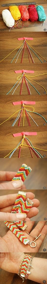 DIY  Chevron friendship bracelet tutorial. I remember doing these in junior high with pins pinned to my pants to keep them in place.