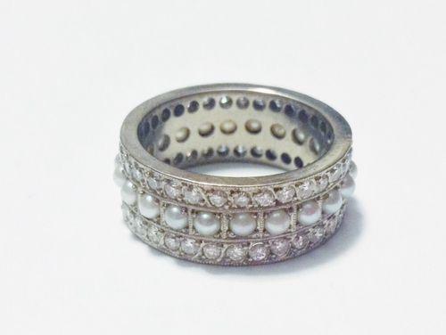 1950s Platinum, Diamond, and Pearl Ring