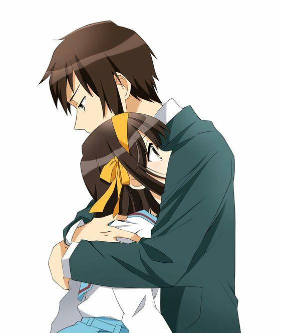 涼宮ハルヒを抱きしめているキョンの「涼宮ハルヒの憂鬱」の画像