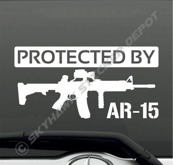 Protected By AR15 Rifle Vinyl Bumper Sticker Decal Car Truck SUV Window Sticker