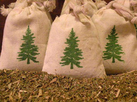 Natural Balsam Fir Cotton Muslin Sachet Gift Bags   by aunaturelle, $24.00