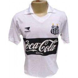 Camisa retrô Santos branca coca cola preta Penalty 1989