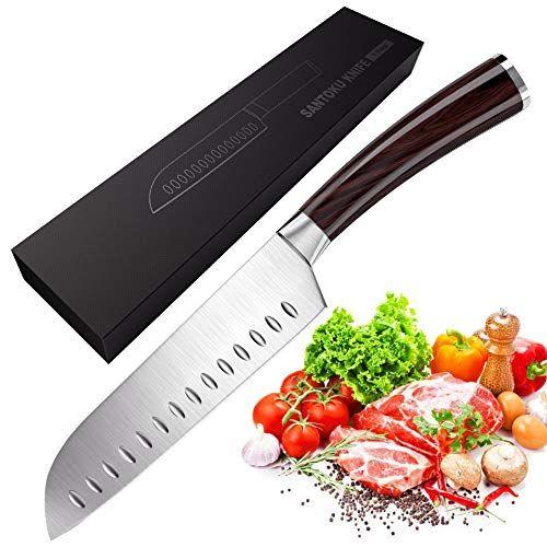 Couteau De Cuisine Massway Couteau De Santoku 17cm En Acier Allemand Couteau Japonais Avec Poignee Ergonomique Couteau A T Couteau De Cuisine Cuisine Ustensile