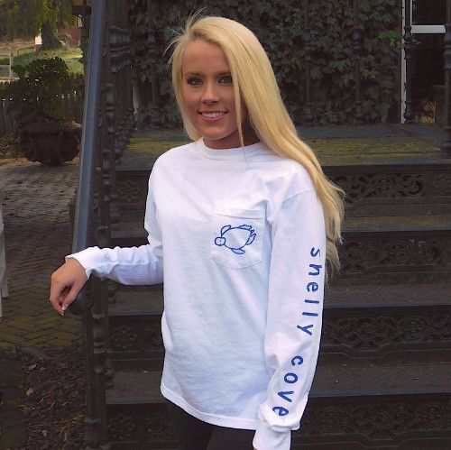 Vintage White Logo Long Sleeve Pocket Tee - Arm Imprint from Shelly Cove