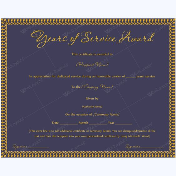 13 best Years of Service Award images on Pinterest Award - sample certificate of service template