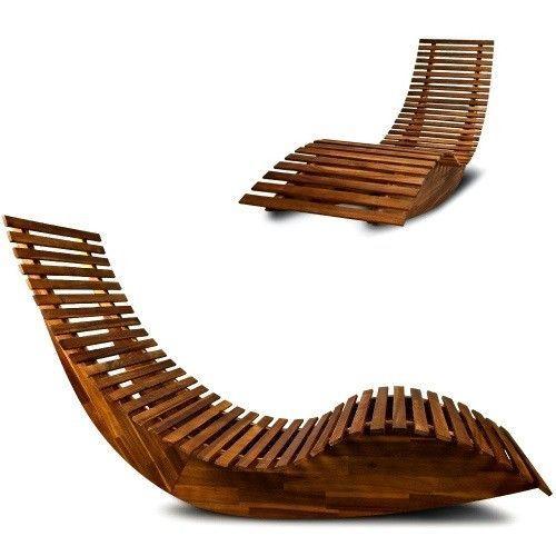 Fabulous Wooden Sun Lounger Patio Rocking Chair Garden Sunbed Machost Co Dining Chair Design Ideas Machostcouk