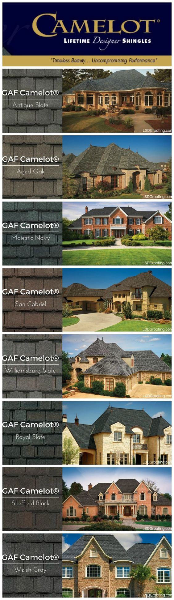 Designer Shingle colors for the house!  http://www.lsdgroofing.com/roofing/shingle-colors/gaf-camelot-shingle-colors/