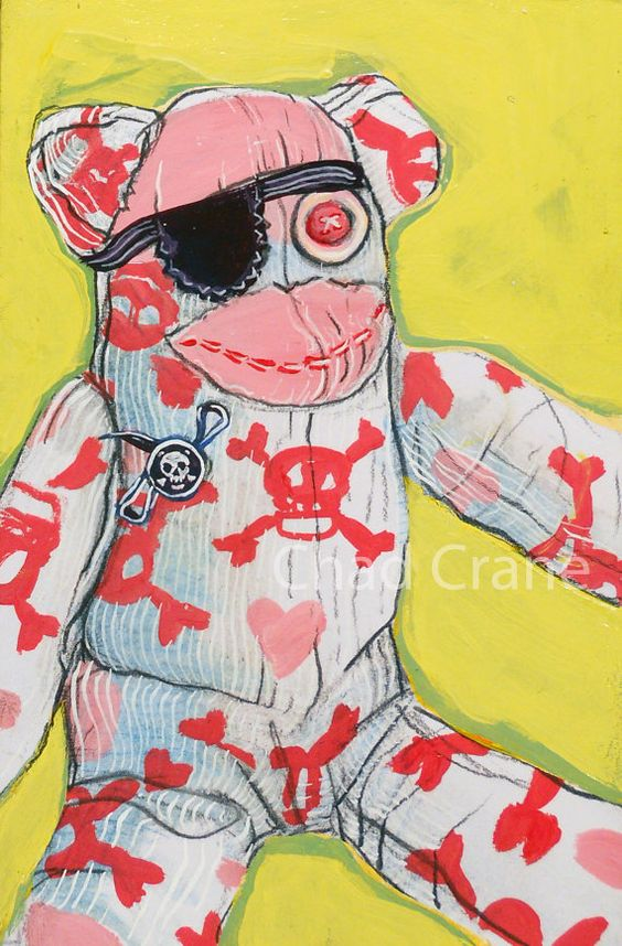 Sock Monkey Pirate Art by MaddiesMinions on etsy: