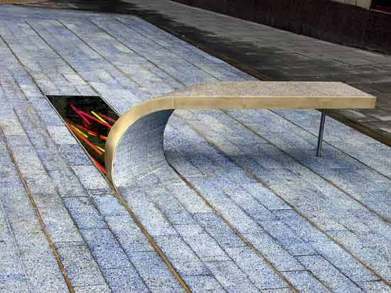 Bench: Thomas Heatherwick, 'Blue Carpet', Newcastle-Upon-Tyne, 2002