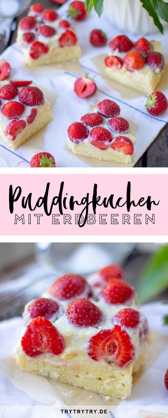 Puddingkuchen mit Erdbeeren