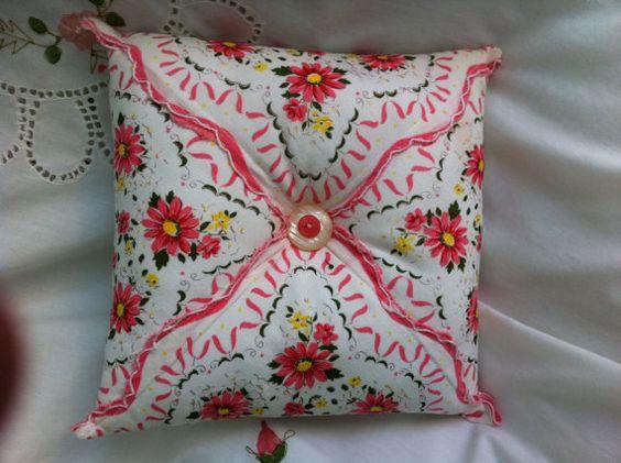Vintage Pillow Handerchief Antique Wedding by LollysCubbyHole
