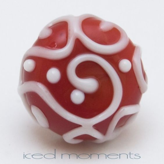 Lapel pin  Line art  Red and white  lampwork glass by IcedMoments, $15.00
