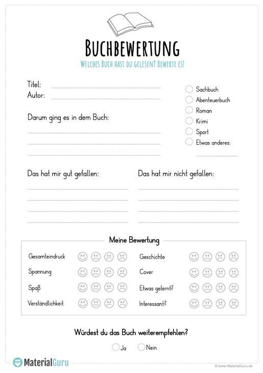 Buchbewertung Buchvorstellung Grundschule Deutsch Unterricht Kostenlose Arbeitsblatter