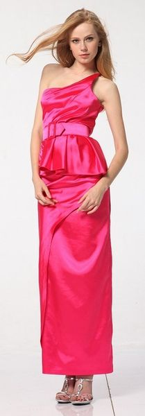 Plus Size Hot Pink One Shoulder Dress with Buckle Waist Formal ...