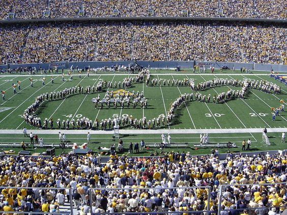 West Virginia University - I would love to buy a band picture like this from the years I was in the band (85-88)