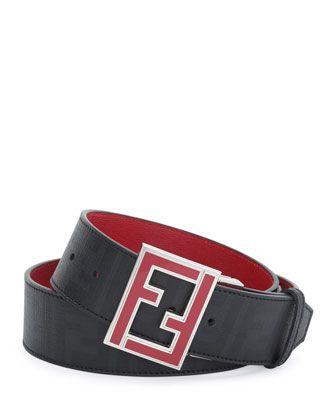 Reversible Zucca-Print Enamel-Buckle Belt by Fendi at Neiman Marcus.