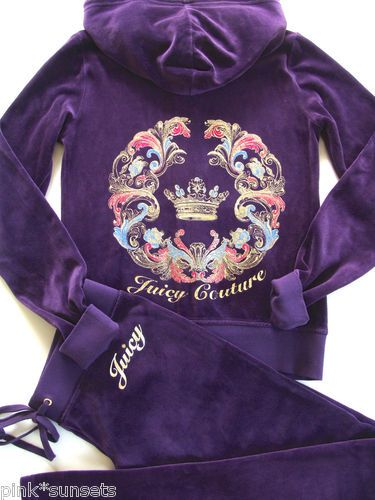 Juicy Couture Mirrored Velour Track Hoodie Pants Tracksuit Blackberry Purple