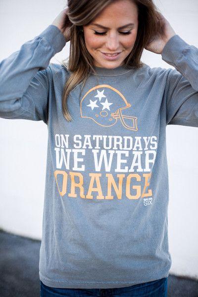 On Saturdays We Wear Orange Long Sleeve University of Tennessee  Game day apparel for women Volunteers