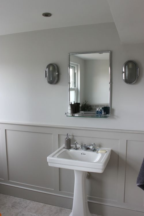 Little Greene French Grey Pale  walls  and French Grey Mid  panelling. Little Greene French Grey Pale  walls  and French Grey Mid