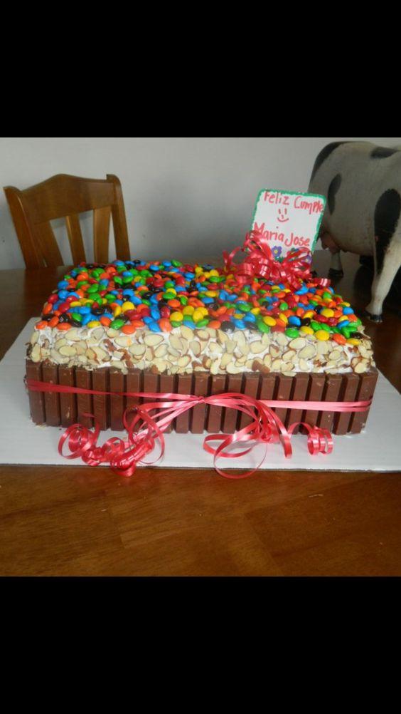 M&M and Kit Kat cake!!
